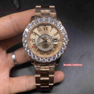 Boutique Montres Business Mode Hommes or rose Montre en acier inoxydable Prong Set Diamond Watch automatique Sport mécanique Wristwatch