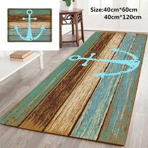 Alfombra baño Ancla náutica de madera rústica del 3D-Mat alfombras de baño Alfombras de baño antideslizante alfombras de baño Cocina Mat Home Living