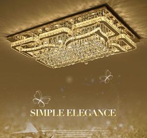 Nouveau à fil lampe en cristal de plafond moderne simple Led rectangulaire Living Chambre éclairage de la salle Lumière aspiration toit lampe Lustres LLFA