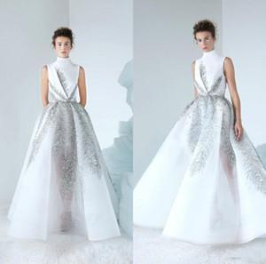 New Lebanon Prom Vestidos Pescoço Alto Luxo Beads Sequins Tulle Vestido Comprimento desgaste do partido Custom Made Vestidos Formais 4274