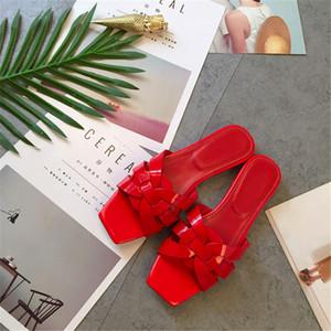 in vernice piatto Pantofole donna Croce intrecciare caramella di colore estate scarpe da donna casual all'aperto Mules Scarpe Donna