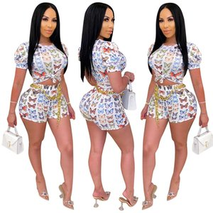 Butterfly Print Two Piece Set Women Outfits Short Sleeve Crop Top&Short Pants Sets Tracksuit Plus Size Sets 2 Piece Set Summer
