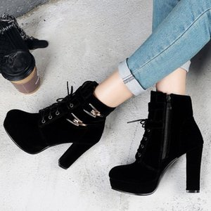 size 33 to 42 43 black gold buckle lace up platform chunky heels ankle booties luxury designer women boots come with box