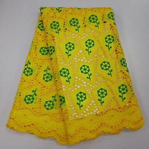 2019 Qualitäts-afrikanische Nigerian Spitze-Gewebe aus 100% reiner Baumwolle Stickerei-Netz-Spitze für Partei-Kleid 5Yards / Lot A2266