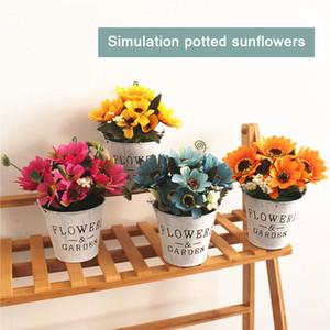 Sunflower Eisen Eimer künstliche Anlage Simulierte Sunflower Mode Schöne Ornament Balkon Garten Hochzeit Kunststoff