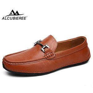 ALCUBIEREE Sonbahar Erkekler Rasgele loafer'lar Mens Geçmeli Ayakkabı Sürüş Hafif Makosenler Flats Tekne Ayakkabı Yumuşak Nefes Ayakkabı