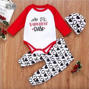 للجنسين مجموعة ملابس الاطفال للبنين بنات القطن ثلاثة قطعة رومبير كم طويل وبنطلون القبعات عيد الحب هدايا اطفال اطفال