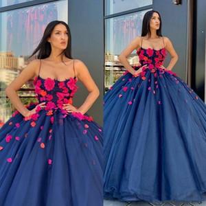 Plus La Taille Arabie Formelle Parti Robe 2020 Marine Bleu De Bal Quinceanera Robes Avec Bretelles Spaghetti 3D Floral Appliques Robes De Soirée