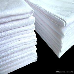 Pure White HANKERCHIEFS 100% coton Mouchoirs Femmes Hommes 33cm * 33cm Pocket Place mariage bricolage Plaine Imprimer Dessiner Mouchoirs