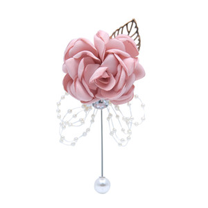 H&S BRIDAL Elegant Brooch Boutonniere with Pearl Pin Bridal Corsages Bridesmaid Wedding Flower Accessories for Wedding 2019