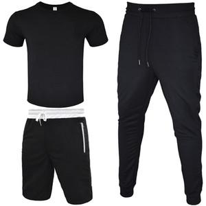 ellesse Schienenklage Männer T-Shirt + kurze Hose + lange Hose 3 Stück Sets Outfit Straße Wind Leggings Sport lässige Baumwoll-T-Shirt mit Reißverschluss