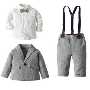 garçons chemise + veste + Salopette Ensembles pour enfants mis Vêtements pour enfants enfants vêtements coton garçons vêtements mis 80/90 / 100 / 110/120 / 130cm