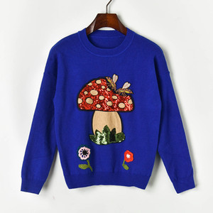 N14 2019 Осень Зима Белый / Черный / Синий Colorblock Вязаная Вышивка пуловеры свитер с длинным рукавом Экипаж шеи Мода Свитера X10Z91012