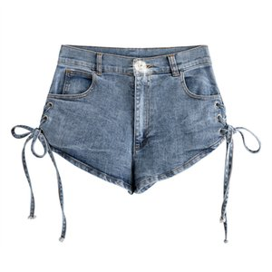 WOMENGAGA 2020 Verão Nw Denim Shorts magro Sexy Bandage cintura alta Buraco retalhos bolso Womens Streetwear Moda A464