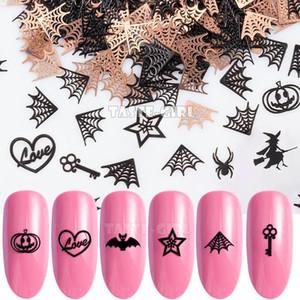 400PCS / Paketi Cadılar Bayramı Kabak Yüz Cadı Örümcek Web Bat Yıldız Metalik Nail Sequins Brone Geri Nail Art Dilim Dekorasyon Manikür