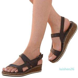 Women Sandals Soft Leather Wedges Shoes Women Espadrilles Platform Female High Heels Sandals Summer Chaussures l26