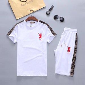 2019 men's new designer suit T-shirt and trousers men's cotton short sport suit