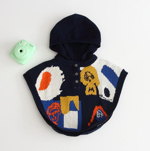 Babe Girls Geometric Cartoons Knitted Sweater Capes Hoodie Fall Winter Lovely Kids Jacket Coat Navy New Fashion Outwear