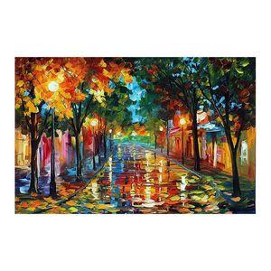 24x20 نقية رسمت باليد قماش اللوحة الانطباعية البليت سكين الزينة نمط المشهد عشاق الرومانسية المشي في الشارع