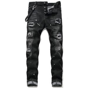 Tops para hombre rasgado ajuste delgado flaco Negro Jeans Moda Moto Lavado de mezclilla Pantalones con paneles de Hip Hop del motorista Pantalones 1046