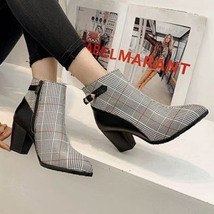Plaid Ankle Boots for Women 2019 Autumn And Winter Stitching Color Chunky Heels High-Heeled Buckle Strap Boots Women