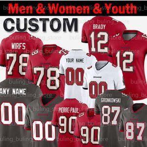 2020 Tampa Bay Tom Brady personnalisée Buccaneer 31 Antoine Winfield Jr. 54 Lavonte David 90 Jason Pierre-Paul Tristan Wirfs Hommes Femmes Enfants