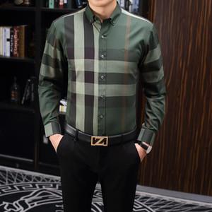 2020 nos marca negócio fina camisa xadrez, moda designer marca tamanho de manga comprida de algodão casuais camisa tarja camisa cooperativa m-3xl # Y24