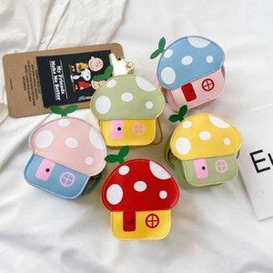 Прекрасного ребёнки Mushroom House Портмоне Кожа PU Cute дети Мини плечо Crossbody Сумка Kawaii Мальчики Дети Маленький кошелек