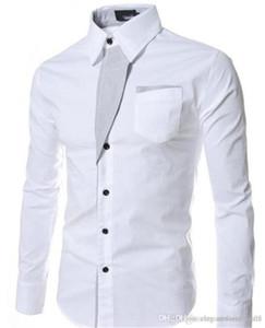 Camisas de Slim manga comprida lapela Neck Mens Shirts Moda cor sólida Vestuário Feminino Designer Vestido Mens