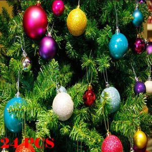 24PCS 30 / 60mm de Navidad árbol de Navidad decoraciones de las bolas de las chucherías del ornamento del brillo