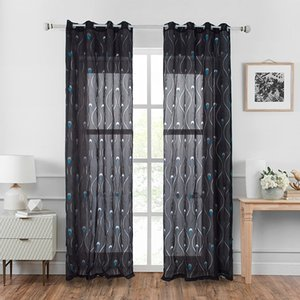 2020 quality tulle curtain grommet top black grey decorative curtains light shading curtain