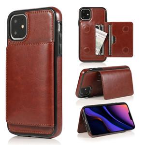 Couro TPU Hard Case para Iphone 11 Pro Max 2019 8 7 PLUS 6 6S SE 5 5S X XS MAX XR ID Slot para cartão Levante híbrido Pele Capa Moda 50PCS