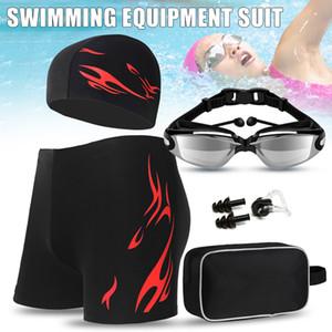 Homens Natação Set Goggles Cap Swimwear saco de transporte Homens Natação Praia Swimsuit Shorts @ 88