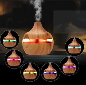Luz eléctrica humidificador Aroma difusor de aceites esenciales ultrasónico del grano de madera humidificador de aire del USB mini fabricante de la niebla LED para Ministerio del Interior