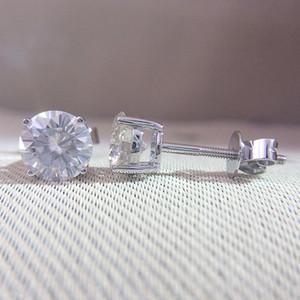 Véritable 14K 585 or blanc revisser DF couleur 2ctw test positif Round Cut Moissanite Boucles d'oreilles diamant pour les femmes S923