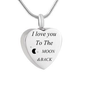 LHP161 personalizado collar del amor recuerdo del corazón que contiene las cenizas grabar Love You I a la joyería luna y de regreso cremación