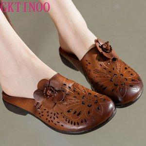 GKTINOO 2020 New Verão Sandals Handmade couro genuíno Mulheres Chinelos Retro flor sapatos Plano Verão Sandals