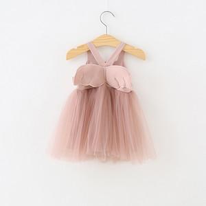 Niñas Ropa de diseñador para niños Vestido de verano de malla de ala de ala Vestido de tirantes Vestidos de niñas de Lolita