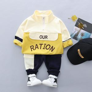 erkek bebek sonbahar pamuk baskı çocuk ceket pantolon kazak Çocuk giyim stand-up yaka uzun kollu spor açılabilir