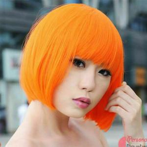 Mulheres Orange Bob peruca cosplay Costume Party Disco completa Perucas Cabelo Liso Curto