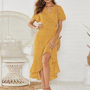 Vestido de diseñador de las mujeres vestidos de la manera con el partido de las mujeres de las lentejuelas del lunar de lujo de manga larga para mujer vestidos de verano
