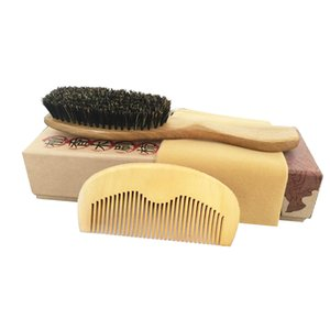Cepillo de pelo peine conjunto surtidor al por mayor cepillo de cerdas de jabalí madera de durazno peine para desenredar el pelo rizado