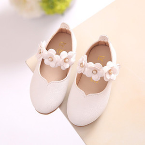Baby Girls Princess Shoes Quality Soft Leather Simple Style Flat Shoe Female Sweet Flower Dressing Shoe Kid Party Princess Shoes