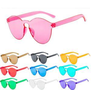 Frauen 9803 Eyewear Candy Colors Sonnenbrille UV400 Frameless Candy PC Retro Farben Designer Sonnenbrille Damen Akefv