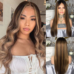 13*6 Lace Front Wigs Ombre Highlight Straight Lace Frontal Wig Brazilian Remy Lace Front Human Hair Wig Pre Plucked 150% Density