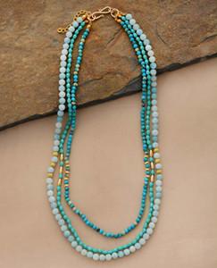 auf Lager Statement Kragen-Halskette Naturstein Kristall Amazonite Mehrschichtige Ketten Frauen-elegante Geschenke Kette Schmuck