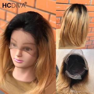 Capelli umani brasiliani parrucche T1B / 27 T1B / 30 caschetto corto diritta del merletto peruviano umani di Remy Pre capelli pizzicata linea sottile Honey Blonde Wig