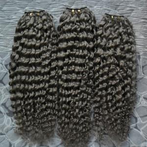 Human Hair Bundles 3PC Brazilian Hair Weave Bundles kinky curly gray Color 100% Human Weave Bundles Non-Remy Hair Extension