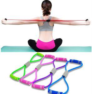 Hot Yoga Gum Eignung-Widerstand 8 Wort-Kasten-Expander-Seil-Workout Muskel Fitness Gummi Elastische Bänder für Sportübung FY7033