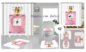 Bianco semplice bottiglia di profumo Curtain moderna Europa e in America in voga igienici Set antiscivolo Bagno Moquette Shower Curtain all'ingrosso
